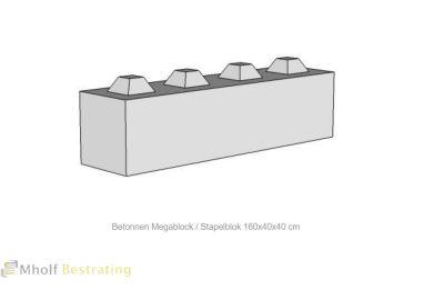 Betonnen Megablock - Stapelblok - Legioblok 160x40x40 cm