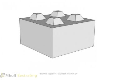 Betonnen Megablock - Stapelblok - Legioblok 80x80x40 cm