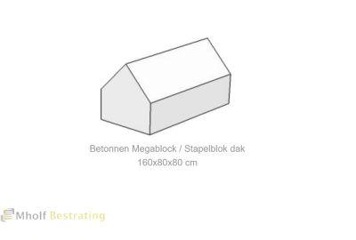 Betonnen Megablock - Stapelblok - Legioblok  dak 160x80x80 cm