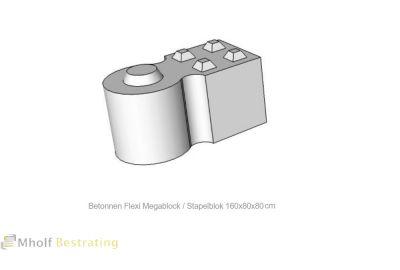 Betonnen Megablock - Stapelblok - Legioblok  Flexi 160x80x80 cm