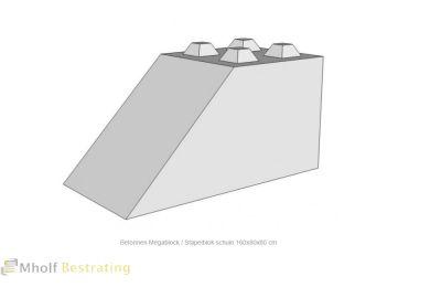 Betonnen Megablock - Stapelblok - Legioblok  schuin 160x80x80 cm